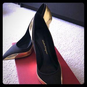 Salvatore Ferragamo black and gold shoes